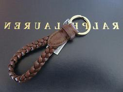 NEW RALPH LAUREN Polo Brown Leather Braided FOB Key Chain Ke