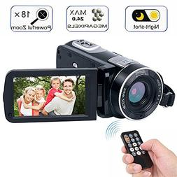 Digital Camcorder with IR Night Vision, WEILIANTE Full HD Di