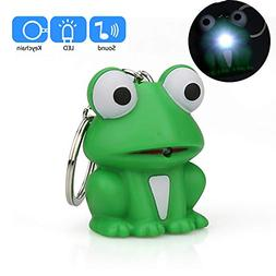 Hisoul Cartoon Frog Keychain - Mini Flashing LED and Realist