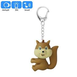 Hisoul Cartoon Squirrel Keychain - Mini Flashing LED Light S