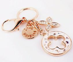 Nument Charms Four Leaf Clover Keychain Rose Gold Plated Swa