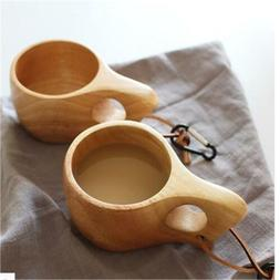 Handmade Wood Coffee Cup Vintage Wooden Drinking Cup Camping