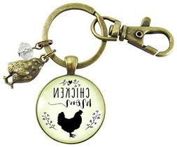 Chicken Mom Keychain Chick Gift For Mother Vintage Novelty F