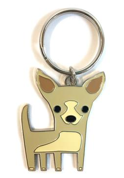 Chihuahua Pendant Key Chain with Silver Tone Accents