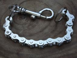 "Chrome Bike Chain Key Chain - 11"" Biker Trucker Jean Heavy W"