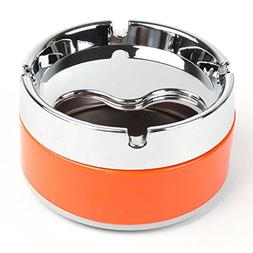 Cigarette Smoke Ashtray - Silver Tone Orange Detachable Rota