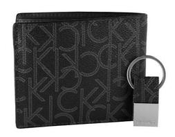 Calvin Klein Ck Men's Leather Bifold Id Wallet Key Chain Set
