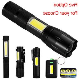 COB LED Flashlight Handheld Tactical Pocket Keychain Work Ca