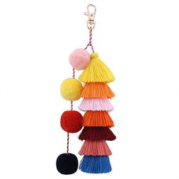 ZOONAI Colorful Tassels Charm Keychain Car Keyring Holder Ba