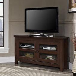 "44"" Corner Wood TV Console - Traditional Brown"