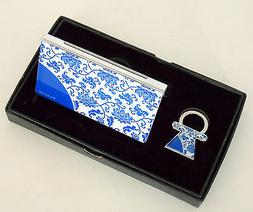 CREDIT CARD HOLDER & MATCHING KEYCHAIN BY BLUE AND WHITE DES
