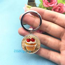 Cupcake , Cake Photo Tibet Silver Keychains Rings Glass Cabo