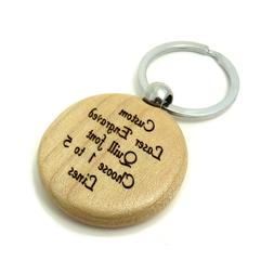 Custom ENGRAVED Maple Wood Key Chain - Choose Circle, Oval,