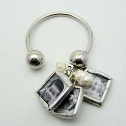 Custom mini charm keychain with your photos NEW mommy pearl