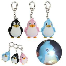 Cute Animal Penguin LED Light with Sound Key Chain Key Ring