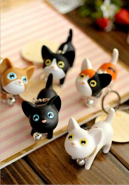 Cute Cartoon PVC Cat Key Chain Self Defense Keyring Cat key