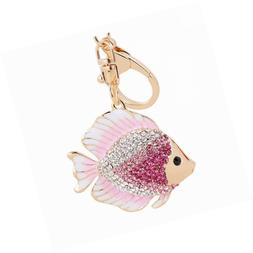 Cute Goldfish Crystal Keychain Animal Key Ring Car& Bag Acce