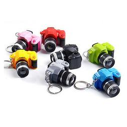 Cute Mini Camera Charm Key Chain With Flash Light&Sound Keyr