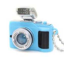 Cute Mini Toy Camera Style Charm Keychain With Flash Light &