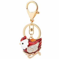 Aibearty Cute Red Chicken Shape Keychain Crystal Fashionable
