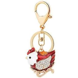 cute red chicken shape keychain crystal fashionable