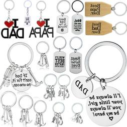 Dad Papa Daddy Fathers Key Chain Ring Holder Gifts Family Lo