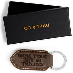 Daft & Co. Best MOM & DAD In The Galaxy Leather Keychain & G