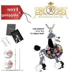 """Dog Lovers Gifts Poodle Pendants 22"""" Necklace With Keychain"""
