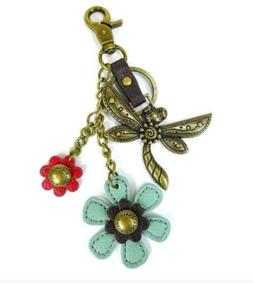 Chala Dragonfly with Flowers Charming Key Chain Purse Bag Fo