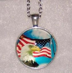 EAGLE FLAG  pendant STERLING SILVER necklace man woman FREE