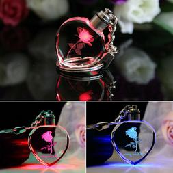 Faddish Fairy Crystal Rose LED Light Keychain Love Heart Key