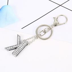 Fashion Accessories Set Auger Key Chains Alphabet Key Ring B