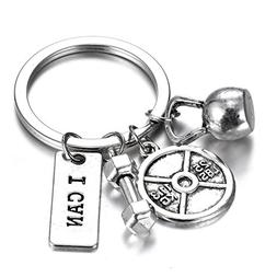 Gmai Fitness Gym Keyring with Quotes, Weight plate, Dumbbell