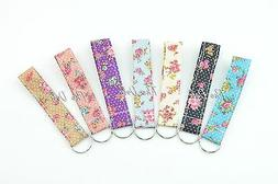 Floral Print Wristlet Fabric Key Fob Key Chain for ID Badge