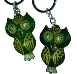Genuine Leather Key-chain/bag-charm, a Pair Set  Green Owl P