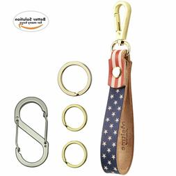 Genuine Leather Key Chain USA American Flag Pattern Leather