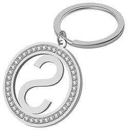Giftale Girly Letter S Keychain Personalized Rhinestone Init