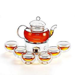 Kendal 27 oz glass filtering tea maker teapot with a warmer
