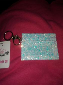 Glittlry ID/CARD Holder White And Blue With Key Chain