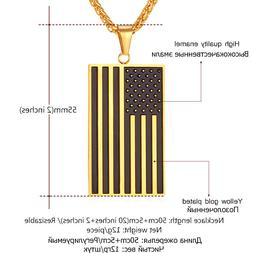 Necklaces Pendants Gold Color Women Flag Stainless Steel USA