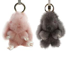 Magelier Gold Plated Keychain with Plush Fur Cute Genuine Le