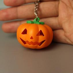 Halloween Pumpkin Led Key Ring Light Up Key Chain Toy Gift W