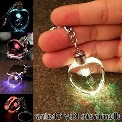 Heart Crystal Rose Key Chain Key Rings Colorful LED Multicol