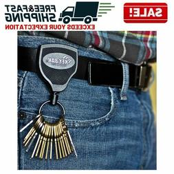 Heavy Duty Retractable Key Chain Badge Holder Locking Steel