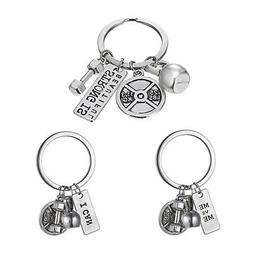 """I CAN "" Dumbbell Weightlifting Charms Fitness Exercise Keyr"