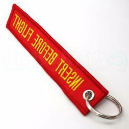 INSERT BEFORE FLIGHT QTY= 1 PC RED/yellow KEYCHAIN RING TAGS