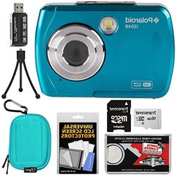 Polaroid iS048 Waterproof Digital Camera  with 16GB Card + C