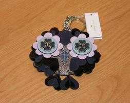 Kate Spade Leather Owl Keychain Key FOB Ring Chain Purse Bag