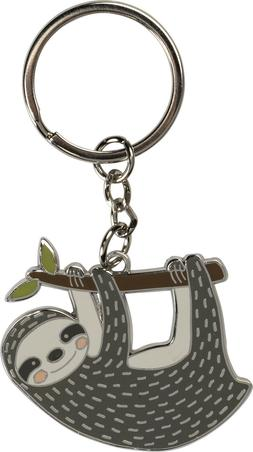 Primitives by Kathy Key Chain - Happy Sloth Hanging from a B