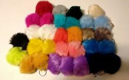 Key Chain--Rabbit Fur Pompom --